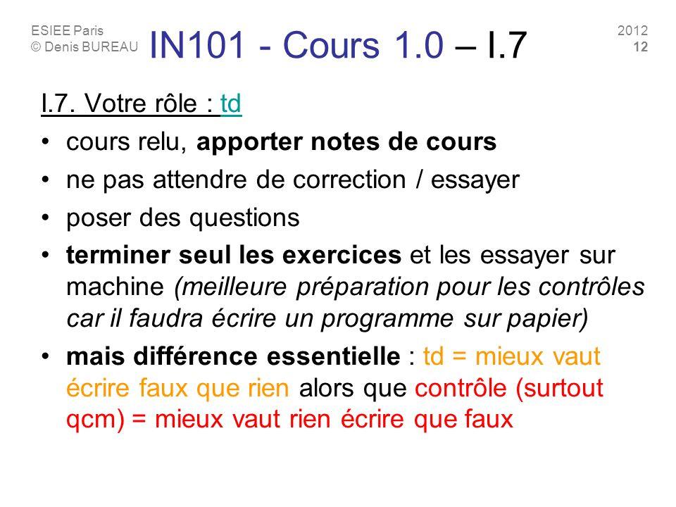 IN101 - Cours 1.0 – I.7 I.7. Votre rôle : td