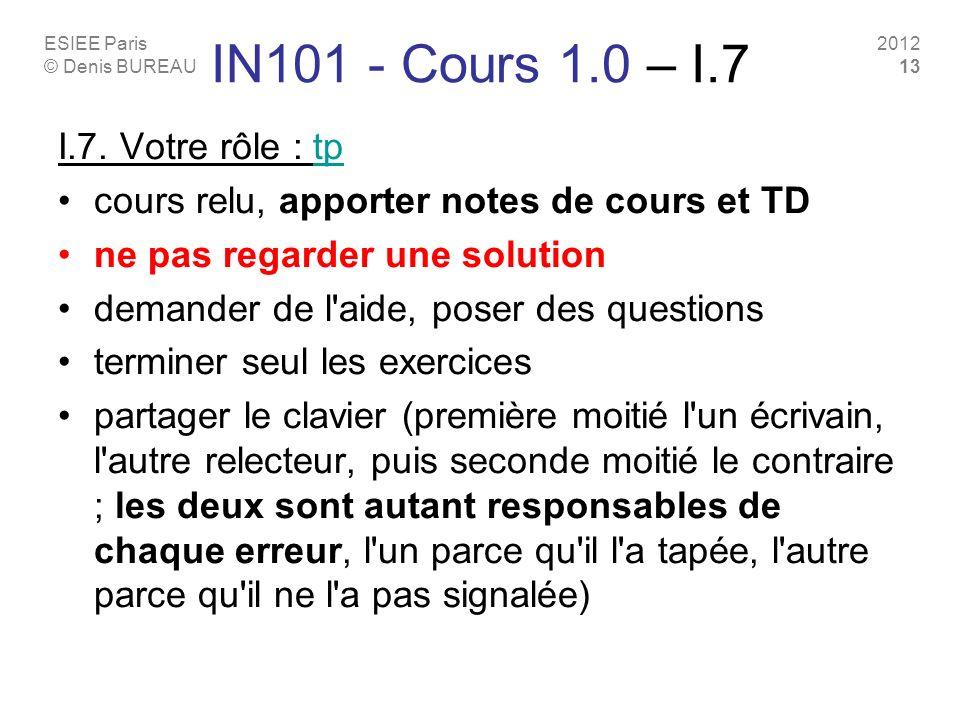 IN101 - Cours 1.0 – I.7 I.7. Votre rôle : tp
