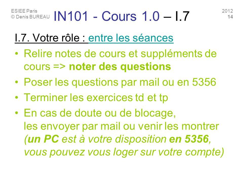 IN101 - Cours 1.0 – I.7 I.7. Votre rôle : entre les séances
