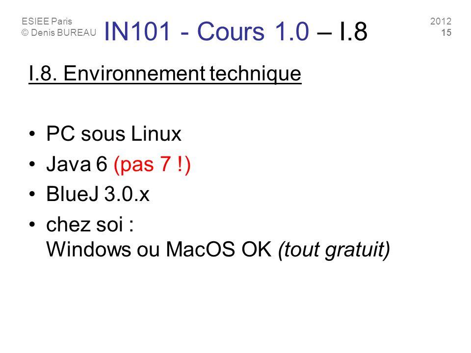IN101 - Cours 1.0 – I.8 I.8. Environnement technique PC sous Linux