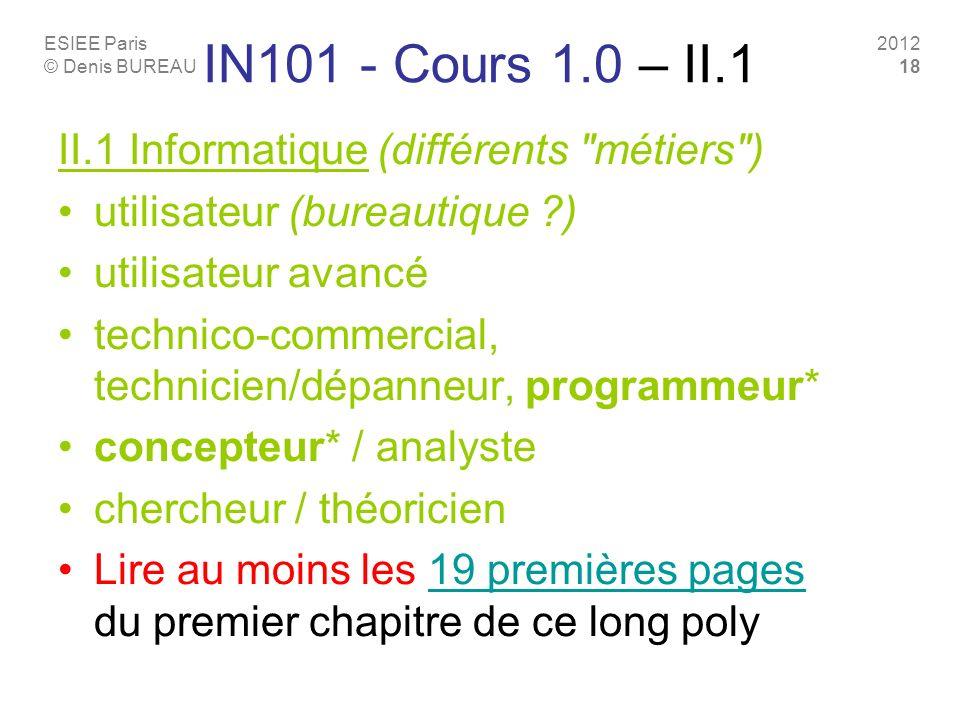 IN101 - Cours 1.0 – II.1 II.1 Informatique (différents métiers )
