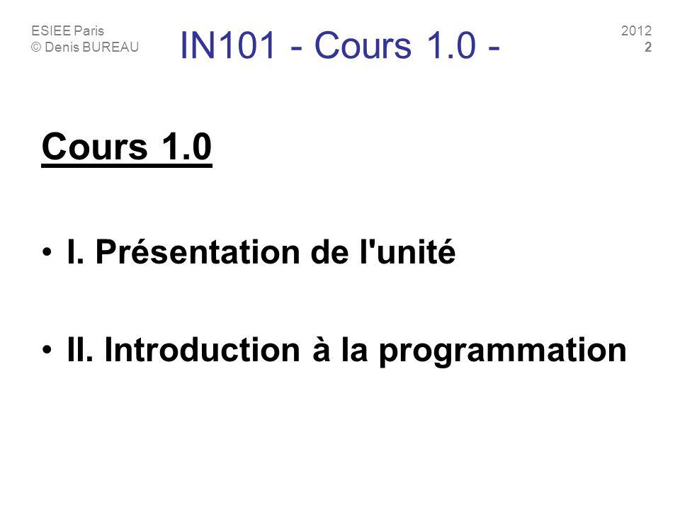 IN101 - Cours 1.0 - Cours 1.0 I. Présentation de l unité
