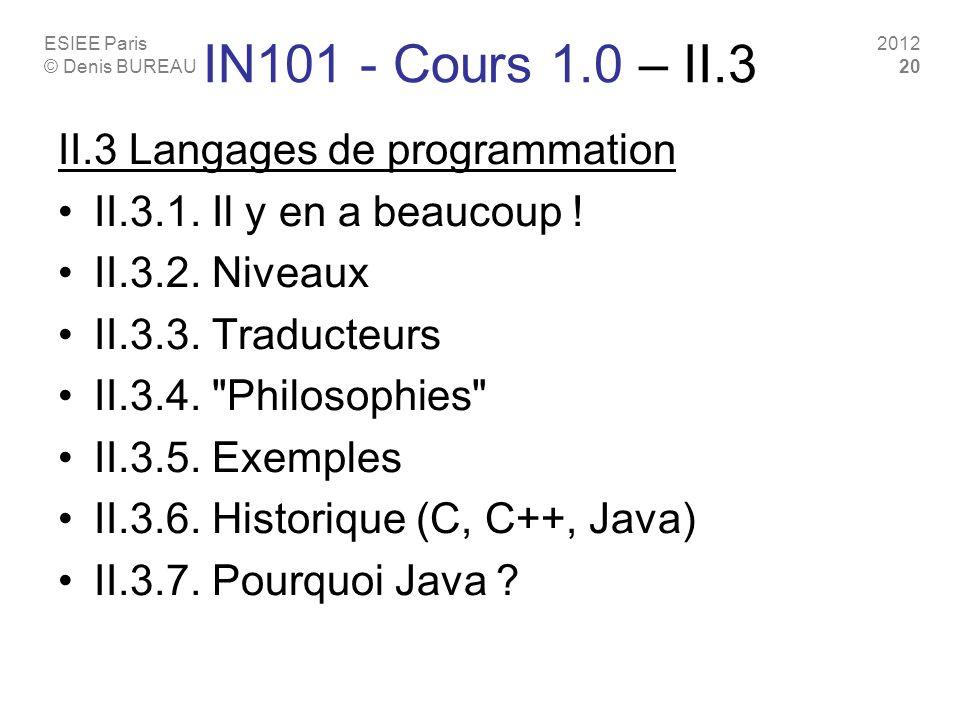 IN101 - Cours 1.0 – II.3 II.3 Langages de programmation