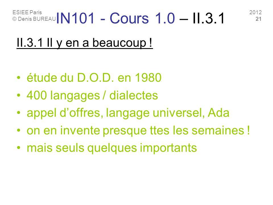 IN101 - Cours 1.0 – II.3.1 II.3.1 Il y en a beaucoup !