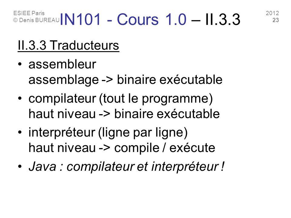 IN101 - Cours 1.0 – II.3.3 II.3.3 Traducteurs