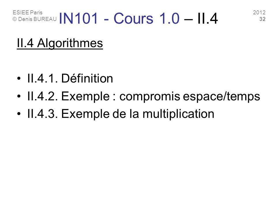 IN101 - Cours 1.0 – II.4 II.4 Algorithmes II.4.1. Définition