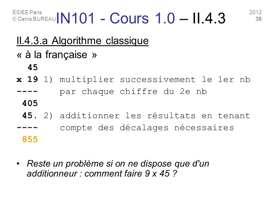 IN101 - Cours 1.0 – II.4.3 II.4.3.a Algorithme classique