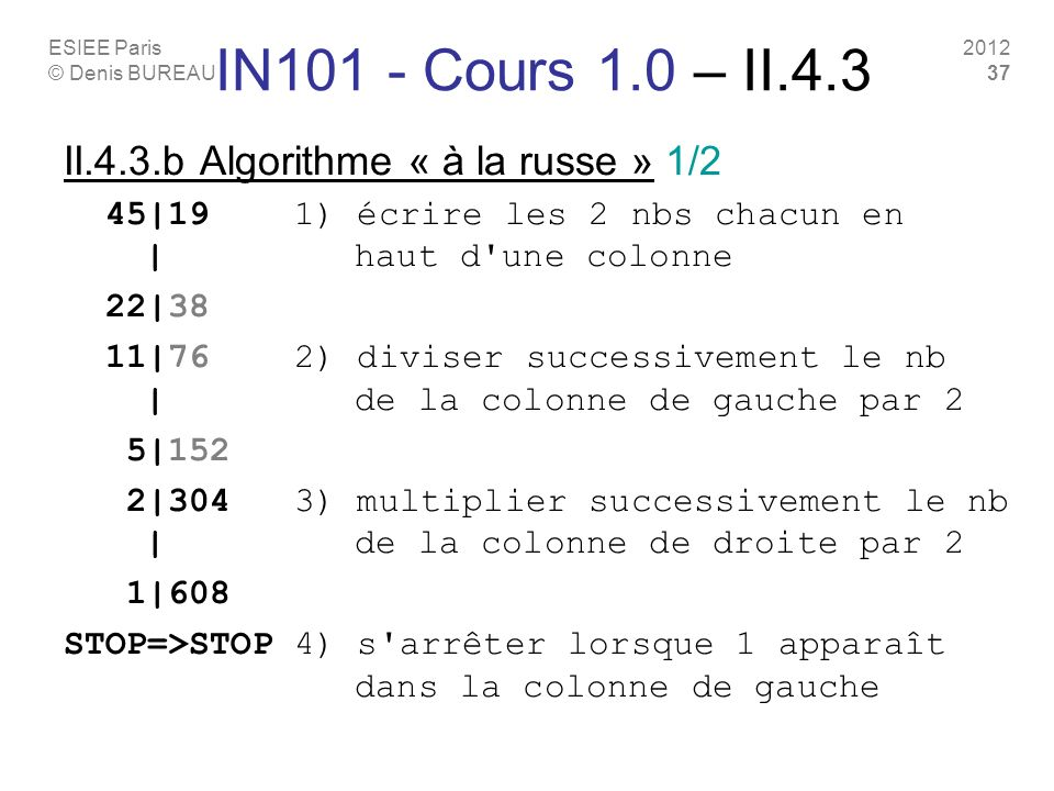 IN101 - Cours 1.0 – II.4.3 II.4.3.b Algorithme « à la russe » 1/2