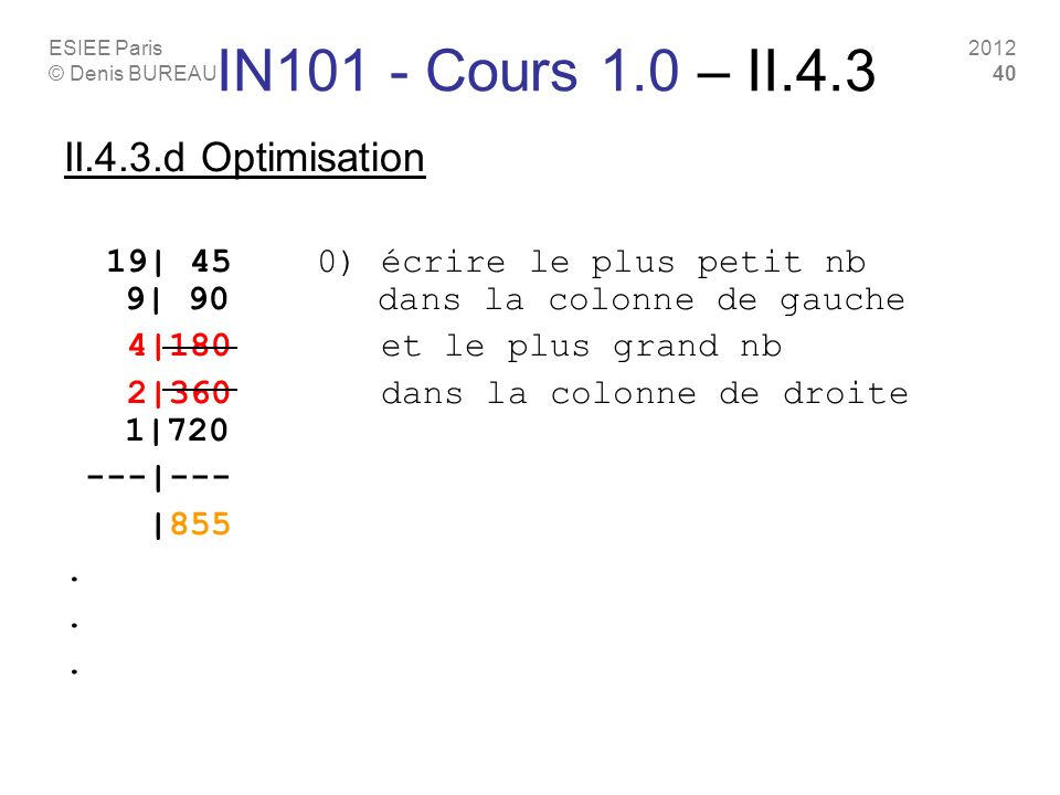 IN101 - Cours 1.0 – II.4.3 II.4.3.d Optimisation