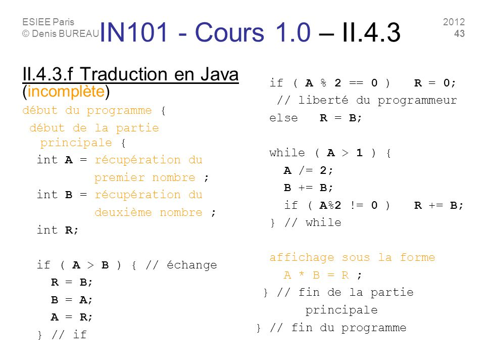 IN101 - Cours 1.0 – II.4.3 II.4.3.f Traduction en Java (incomplète)