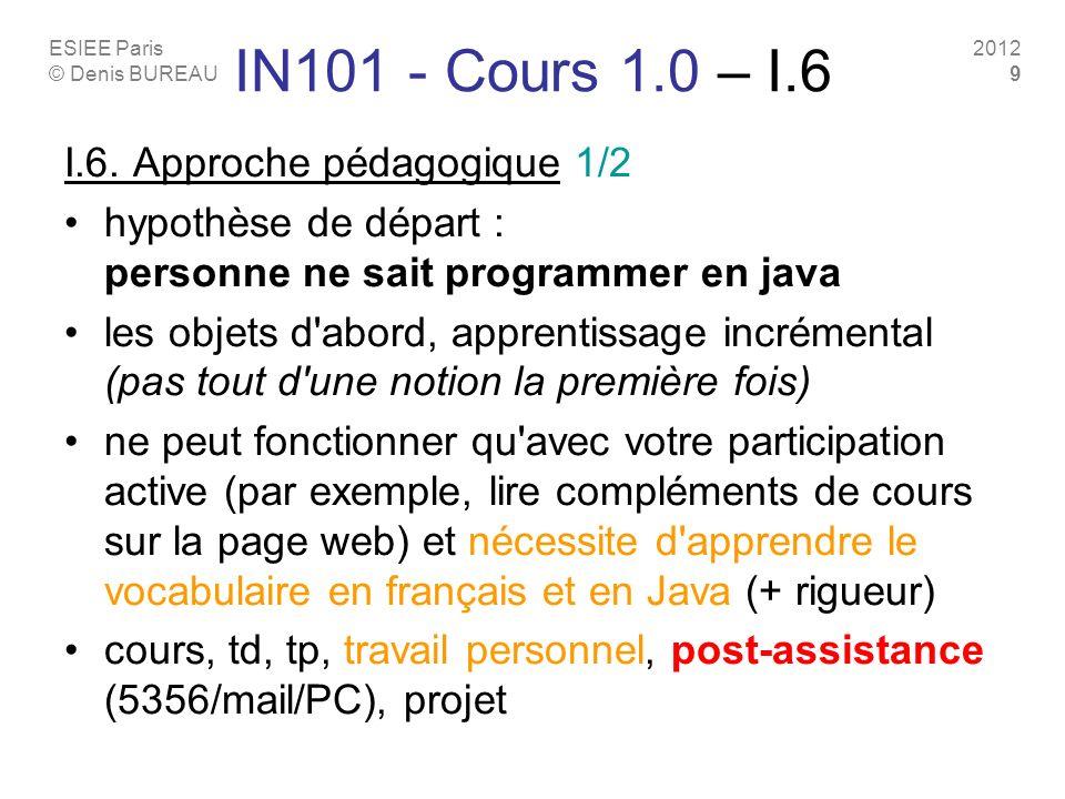 IN101 - Cours 1.0 – I.6 I.6. Approche pédagogique 1/2