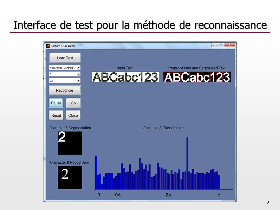 Interface de test pour la méthode de reconnaissance