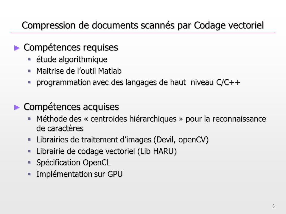 Compression de documents scannés par Codage vectoriel