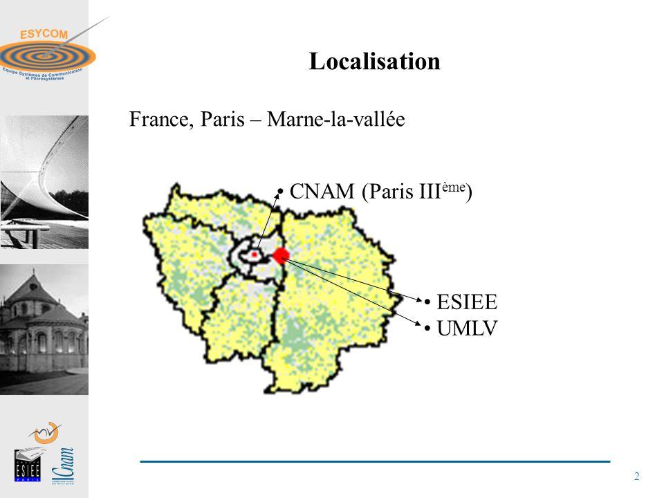 Localisation France, Paris – Marne-la-vallée CNAM (Paris IIIème) ESIEE