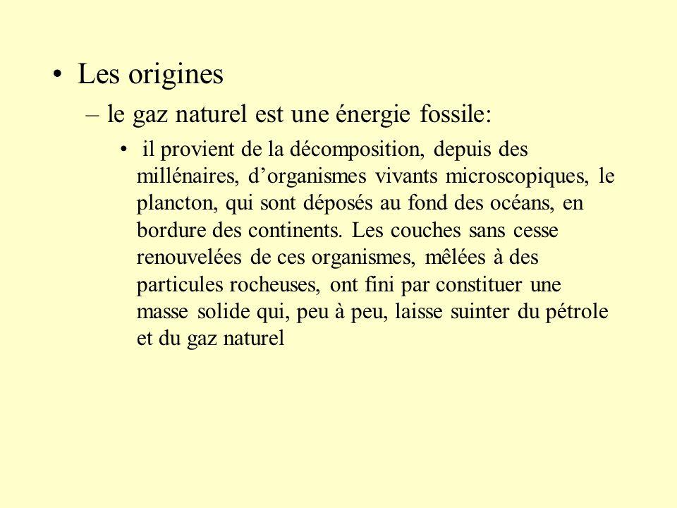 Les origines le gaz naturel est une énergie fossile: