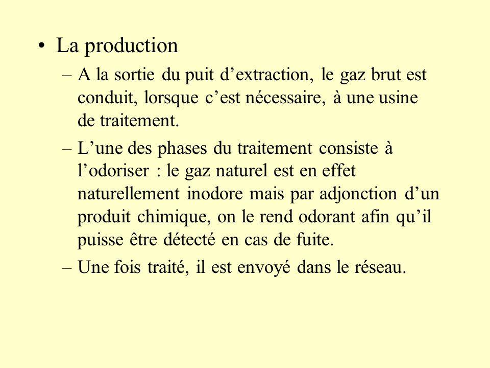 La production A la sortie du puit d'extraction, le gaz brut est conduit, lorsque c'est nécessaire, à une usine de traitement.