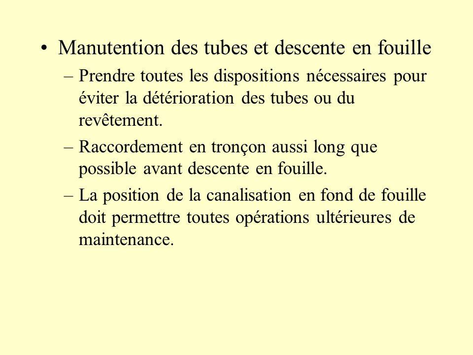 Manutention des tubes et descente en fouille