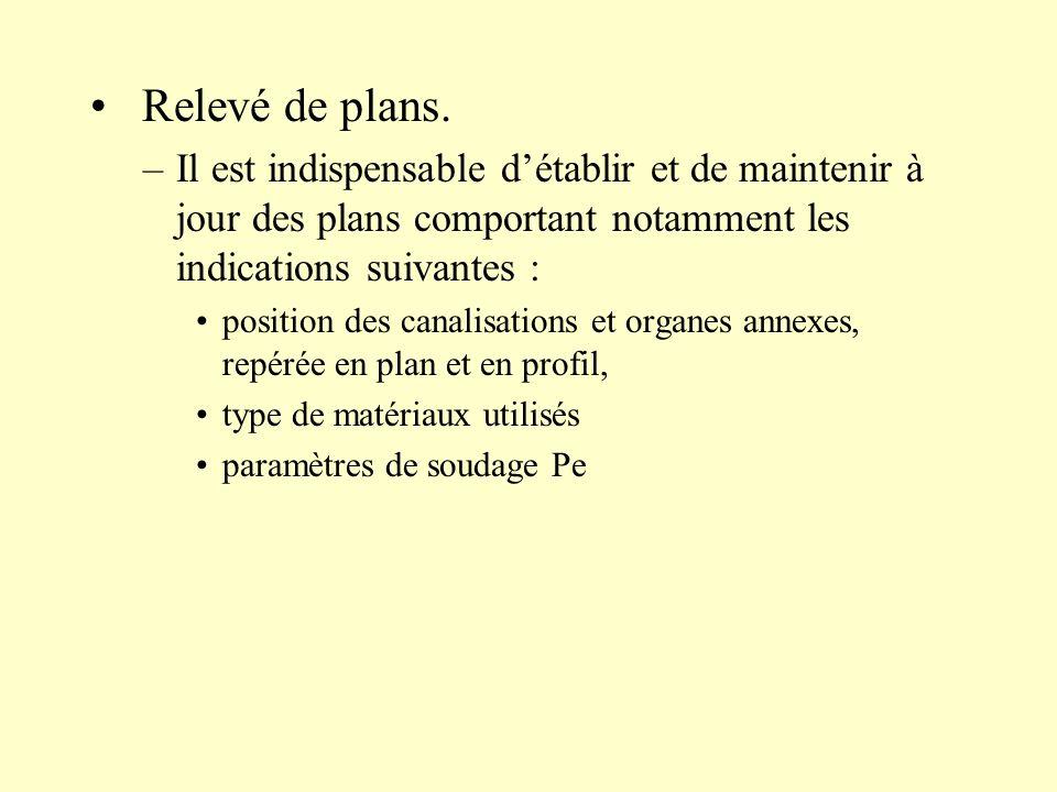 Relevé de plans. Il est indispensable d'établir et de maintenir à jour des plans comportant notamment les indications suivantes :