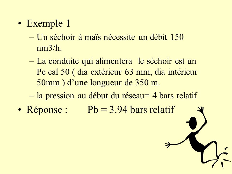Réponse : Pb = 3.94 bars relatif