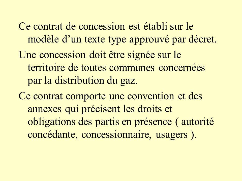 Ce contrat de concession est établi sur le modèle d'un texte type approuvé par décret.
