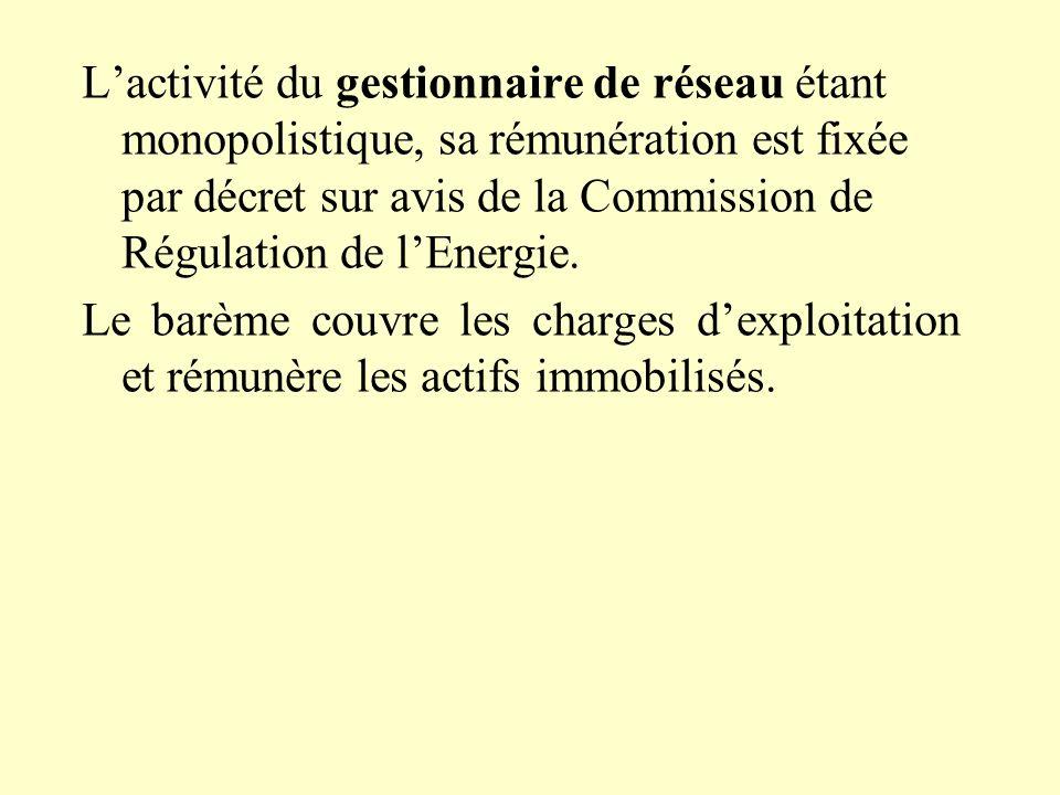 L'activité du gestionnaire de réseau étant monopolistique, sa rémunération est fixée par décret sur avis de la Commission de Régulation de l'Energie.