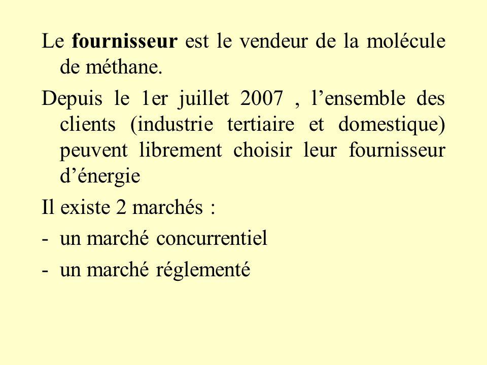 Le fournisseur est le vendeur de la molécule de méthane.