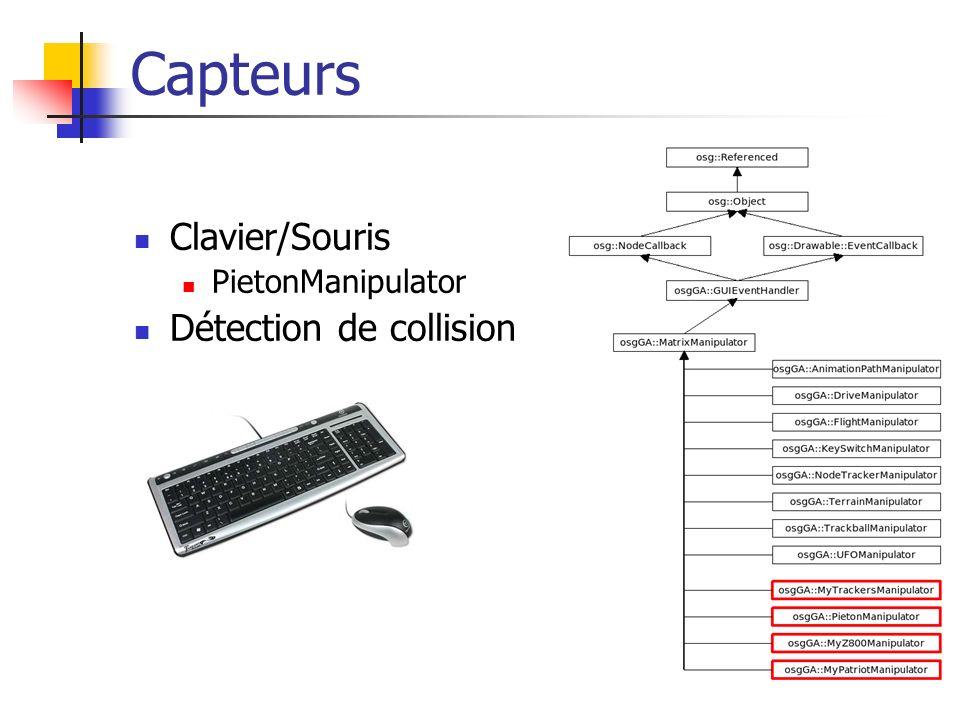 Capteurs Clavier/Souris PietonManipulator Détection de collision