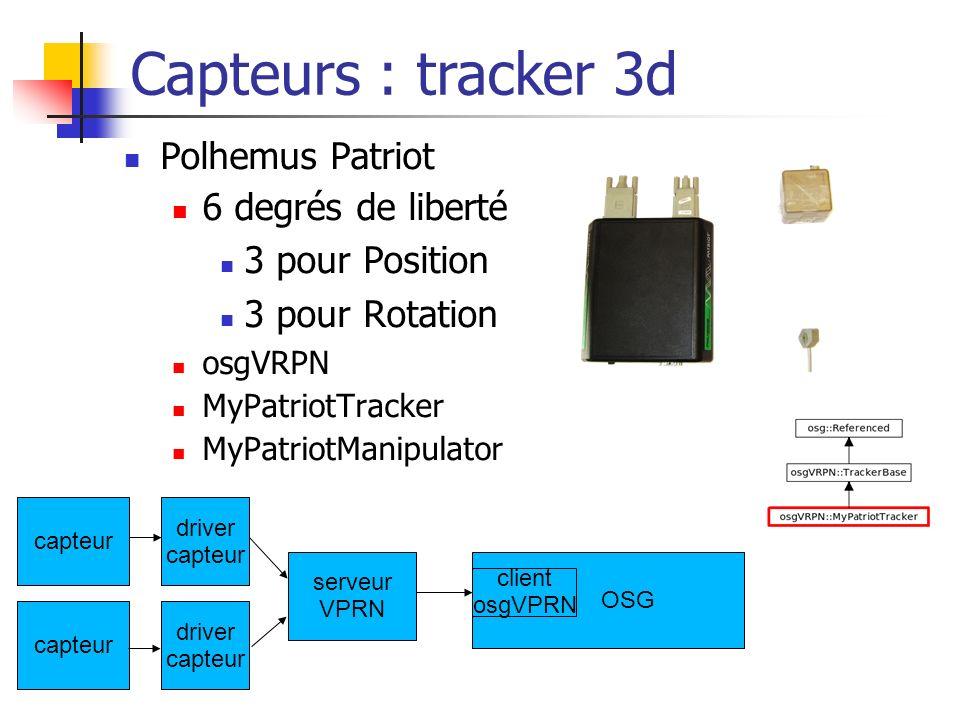 Capteurs : tracker 3d Polhemus Patriot 6 degrés de liberté