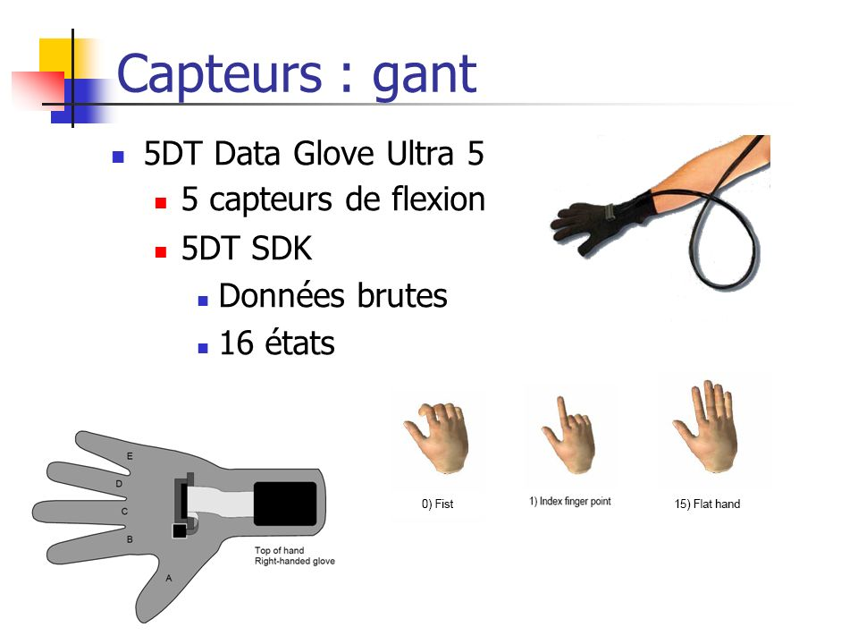 Capteurs : gant 5DT Data Glove Ultra 5 5 capteurs de flexion 5DT SDK