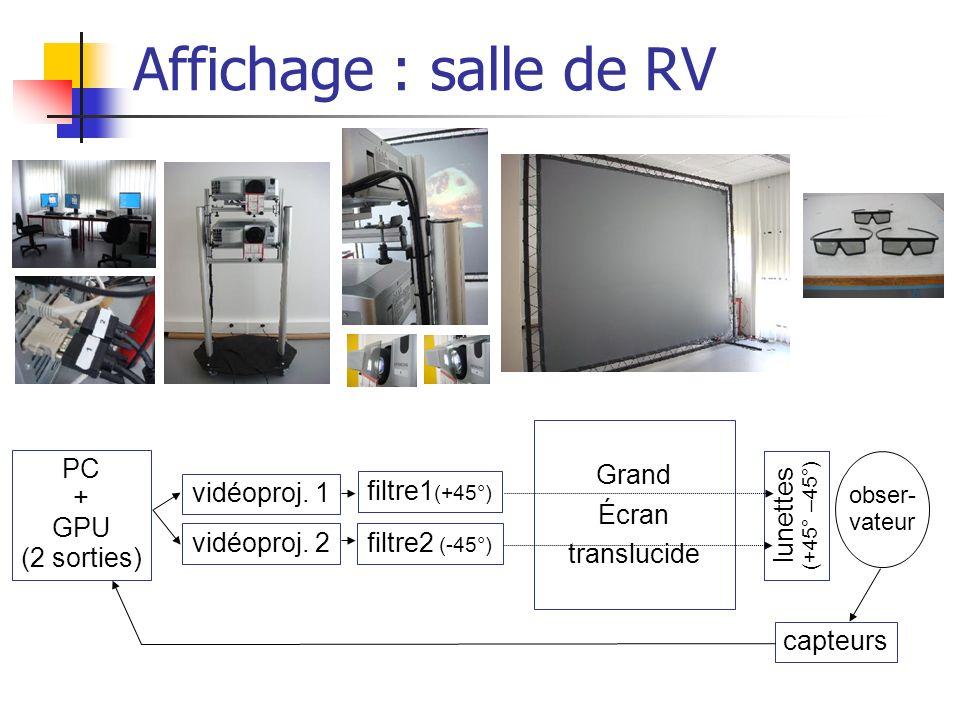 Affichage : salle de RV Grand Écran translucide PC + GPU (2 sorties)