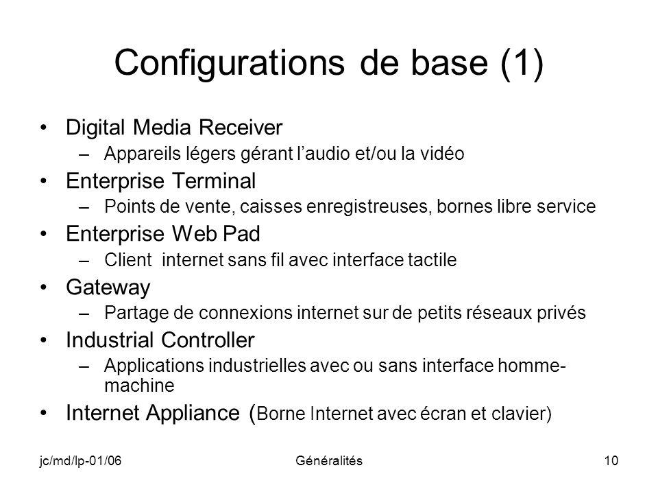 Configurations de base (1)