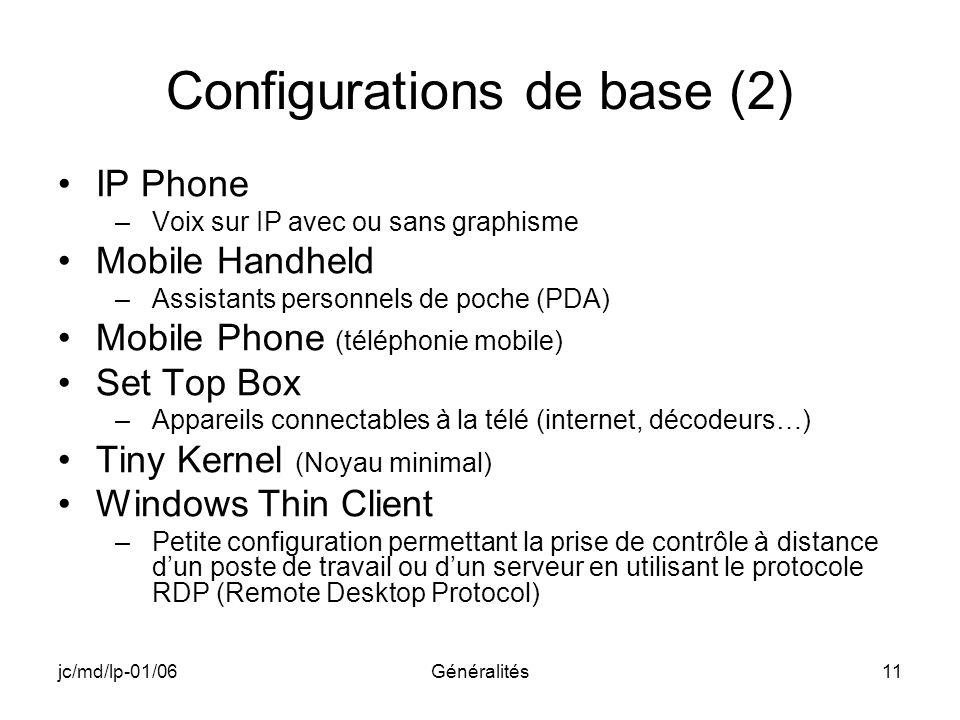 Configurations de base (2)