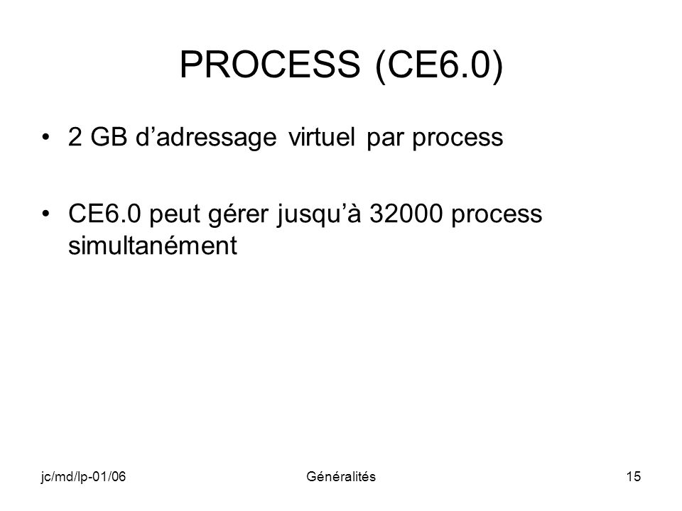 PROCESS (CE6.0) 2 GB d'adressage virtuel par process