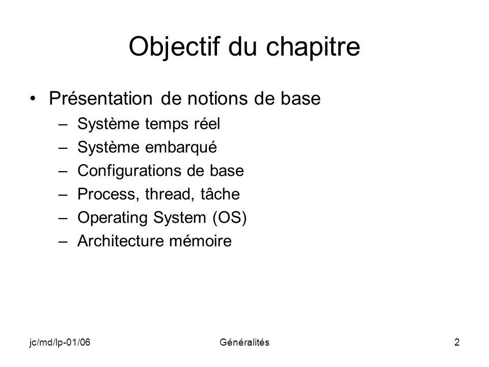 Objectif du chapitre Présentation de notions de base
