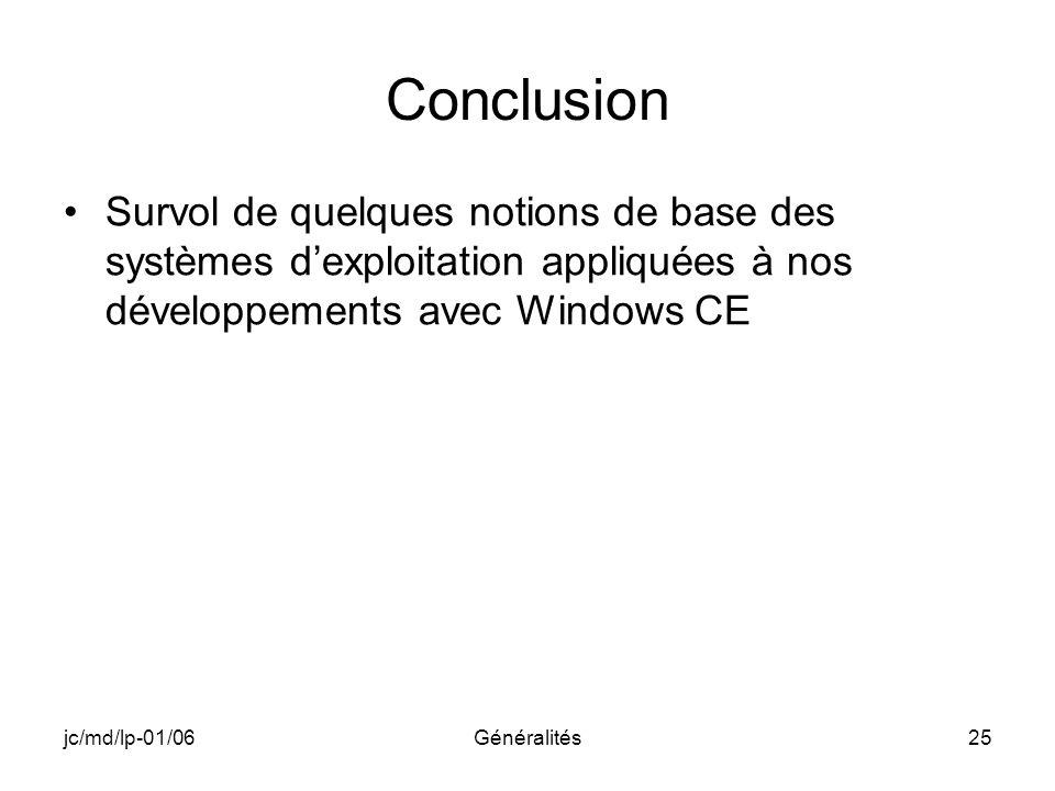 Conclusion Survol de quelques notions de base des systèmes d'exploitation appliquées à nos développements avec Windows CE.