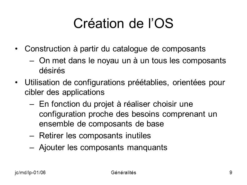 Création de l'OS Construction à partir du catalogue de composants