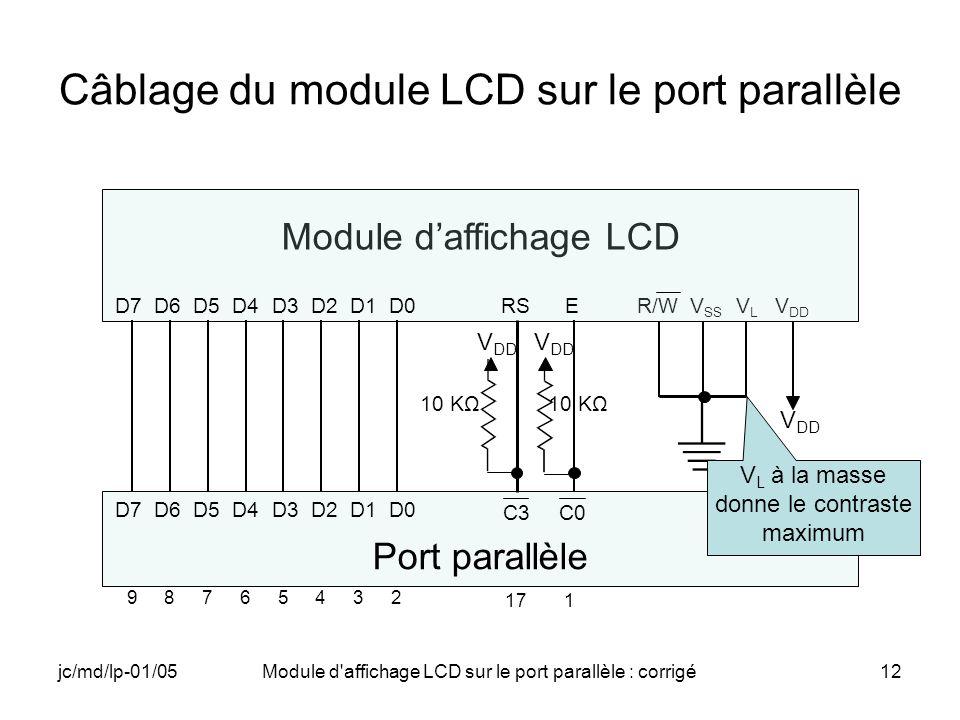 Câblage du module LCD sur le port parallèle