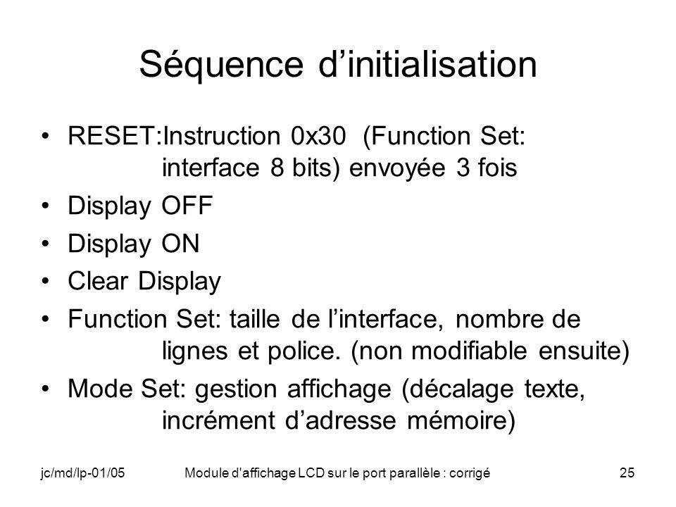 Séquence d'initialisation