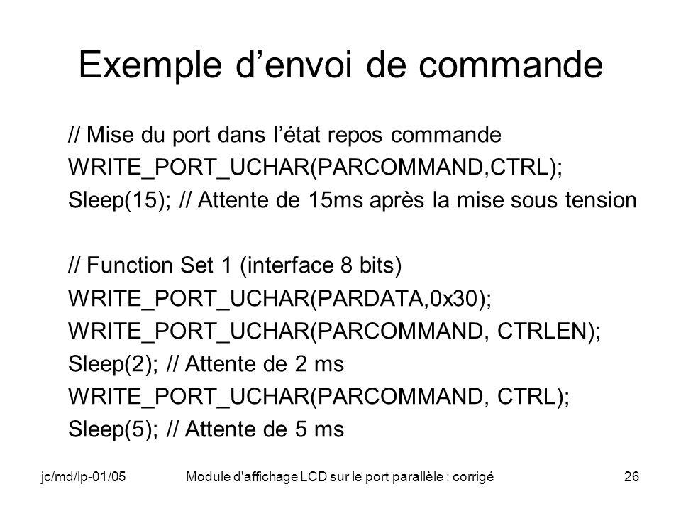 Exemple d'envoi de commande