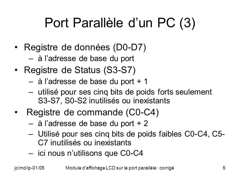 Port Parallèle d'un PC (3)
