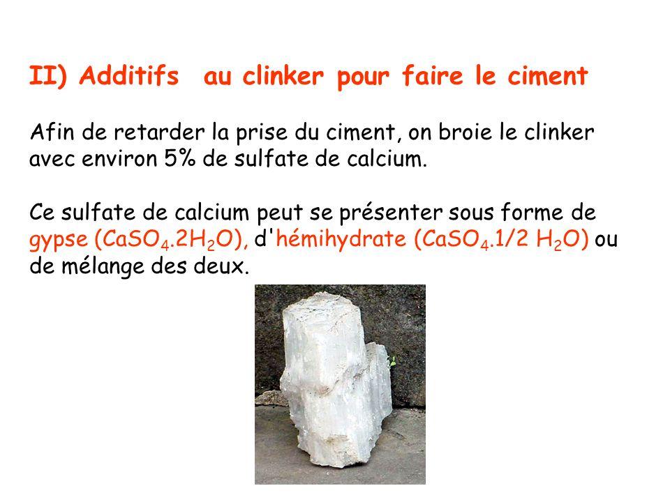 II) Additifs au clinker pour faire le ciment