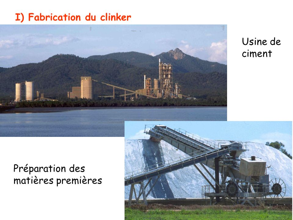 I) Fabrication du clinker