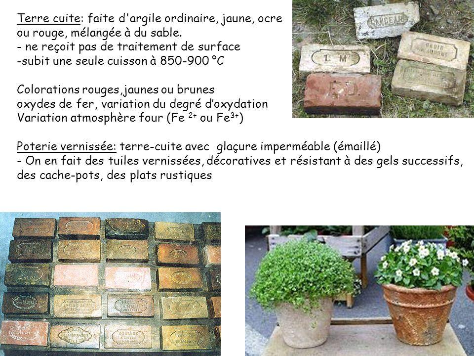 Terre cuite: faite d argile ordinaire, jaune, ocre