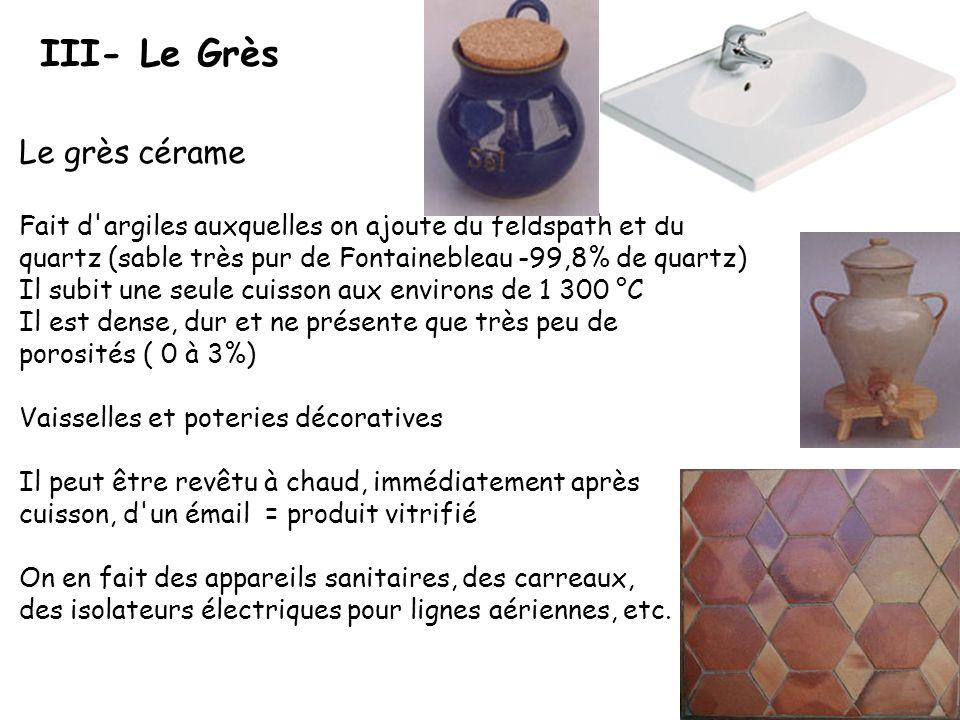 III- Le Grès Le grès cérame