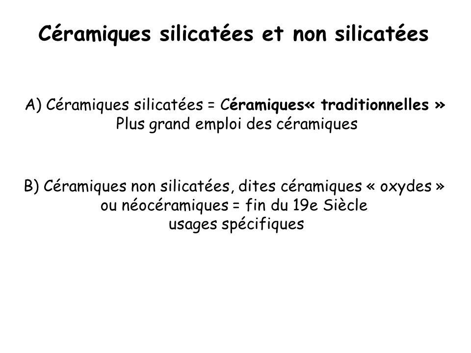 Céramiques silicatées et non silicatées