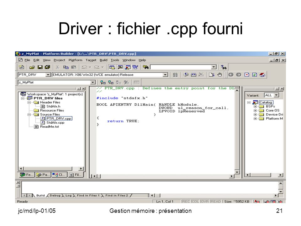 Driver : fichier .cpp fourni