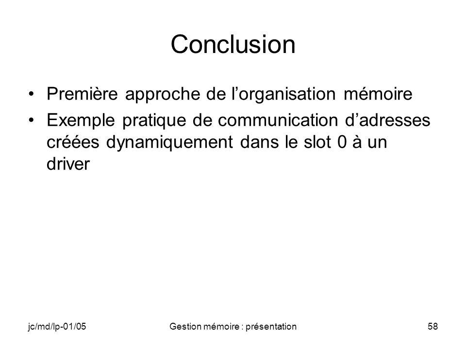 Gestion mémoire : présentation