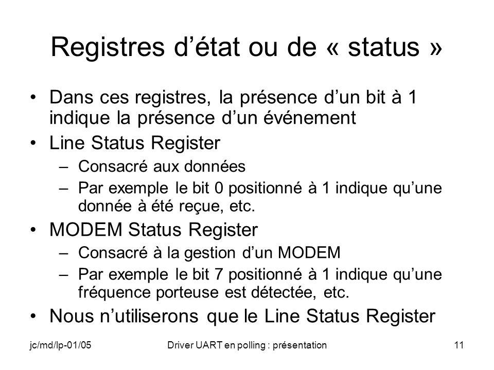 Registres d'état ou de « status »