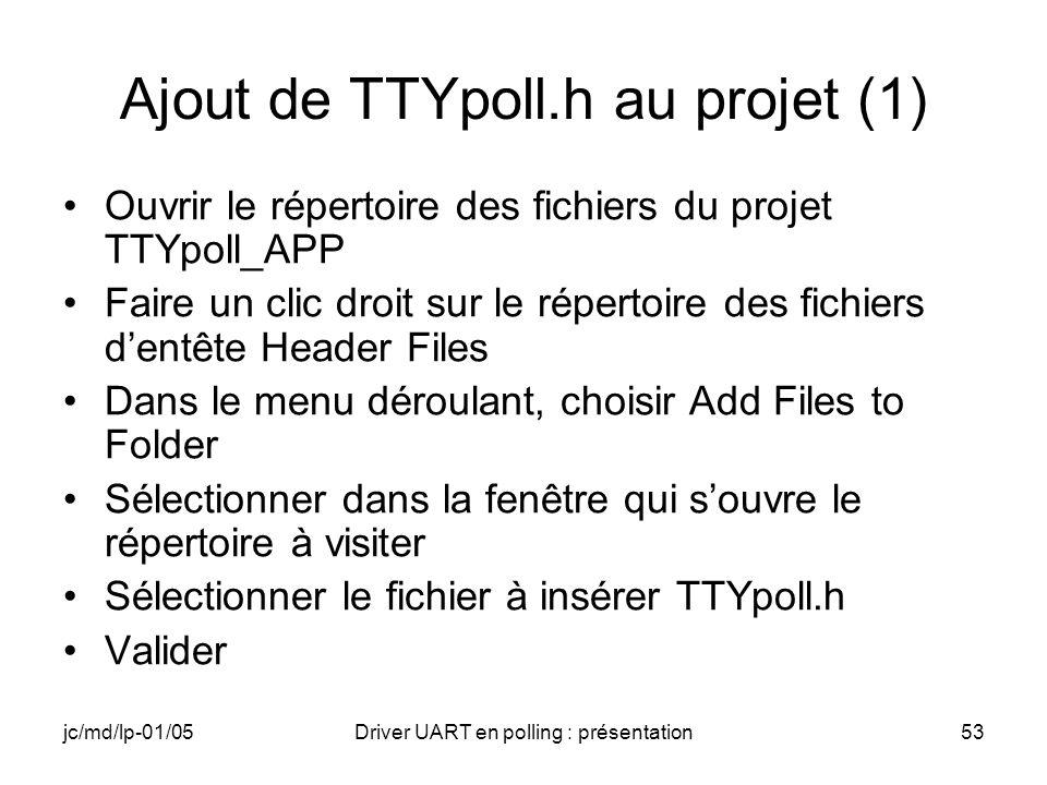 Ajout de TTYpoll.h au projet (1)