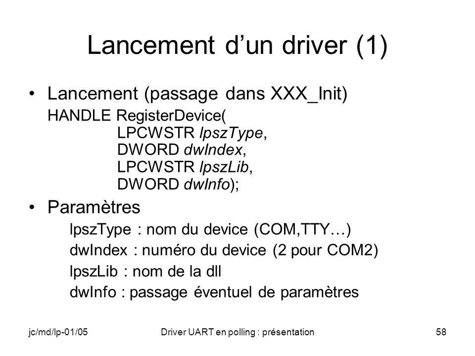 Lancement d'un driver (1)
